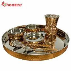 Choozee - Copper Thali Set (8 Pcs) of Plate, Bowl, Spoon & Glass