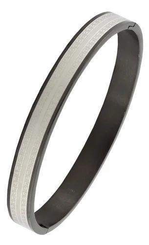 Italian Designer Black Silver Stainless Steel Bracelet Men Boy