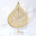 Decorative Stand Leaf Golden Finish Christmas Decoration Item