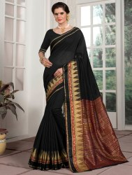 All Over Black Color Weaving Border Saree, 6.3 M