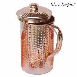 Black Empire Hammered Copper Jug, Capacity: 2100 mL, Size: 9 X 5 Inch