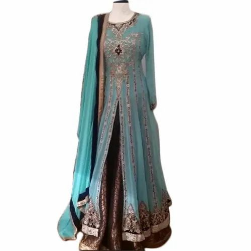 Georgette Sky Blue Ladies Wear Long Dress