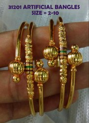 Golden Daily Wear Artificial Bangles (Avbl On Approval)