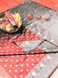 Banarasi Silk Casual Wear Peach Saree With Blouse Piece