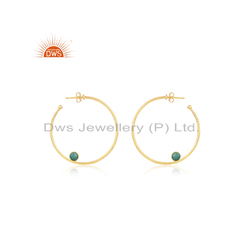 Round Wire Gold Plated Silver Green Onyx Earring Jewelry