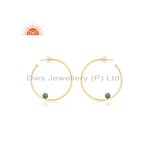 Dws Wire Designer Gold Plated 925 Silver Hoop Earrings Jewelry