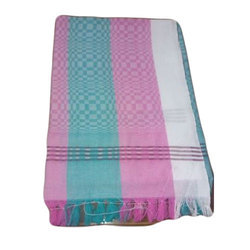 Cotton Green, Pink And White Designer Hand Towel