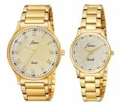 Jainx Bandhan Golden Round Analog Watch For Couple - JC481