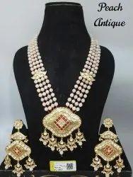 Traditional Artificial Jewelry Antique Kundan Mala Pendant Sets