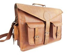 Qoptum Unisex Handmade Genuine Goat Leather TC Bag