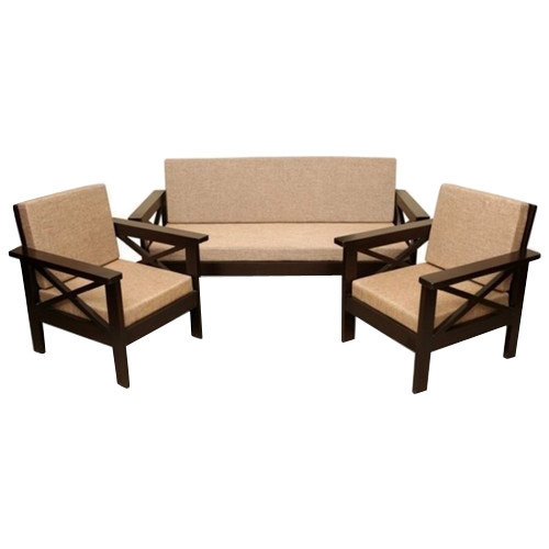 Brown Wooden 5 Seater Sofa Set For Home