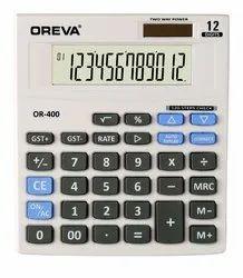 White, Black AJANTA OREVA Check & Correct Calculator, Model Number: OR-400