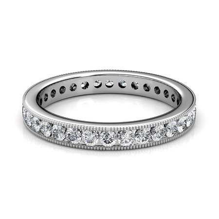 Wedding Engagement Women S Milgrain Channel Set Las Full Diamond Eternity Ring Size