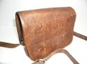 Embossed Designer Leather Saddle Bag