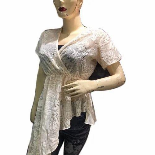 Party Wear Half Sleeves Ladies Fancy Net Top, Size: S-XL