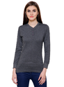 Full Sleeve Pintapple Womens Cotton Henley Grey Top