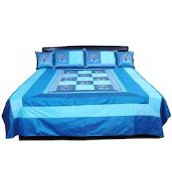 5 Piece Blue Jaipuri Silk Double Bed Cover Set 317