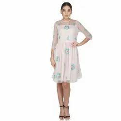 Party Wear Rose Embroidery Pink Tulle Dress