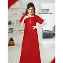 Ladies Plain Red Brashow Cotton Nightgown