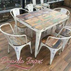 6 Seater Cafe Dining Set, For Restaurant