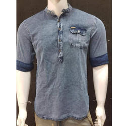 Chinese Collar Denim Shirt