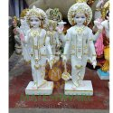White Marble Vishnu Laxmi Statue