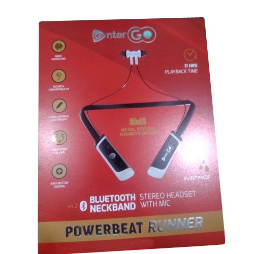 Black Enter Go Bluetooth Neckband Headset Model Name Number Powerbeat Runner Rs 760 Piece Id 21352276555
