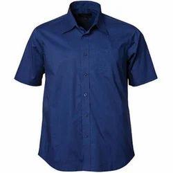Blue Cotton Men's Half Sleeve Shirt
