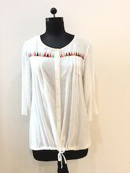 White Beachwear Top With Embroidery