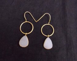 White Druzy Gemstone Earring with Gold Plated