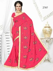 Printed Multy 2707 Embroidered Sarees, With Blouse Piece, 6 Meter