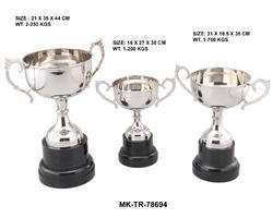 Brass Nickel Plated Premium Trophy Cup, Shape: Cup