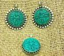 Natural Turquoise Coral Gemstone Pendant Tibetan Silver Nepali Jewelry