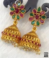 South Indian Style Copper Zmatte Finish Earrings Jhumki