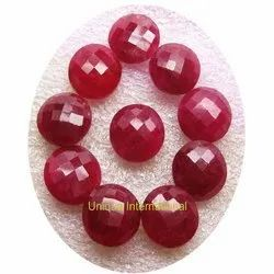 Dyed Ruby Round Double Checker Gemstone