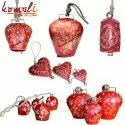 Hand Painted Red Cone Painting Cow Bells - Indian Cowbell Home Decoration Bell