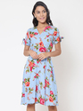Martini Sky Blue Floral Wrap Skater Dress