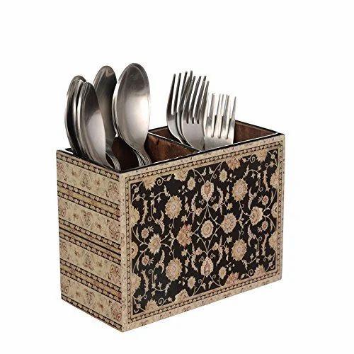 Designer MDF Wooden Cutlery Stand - Designer Black Flower
