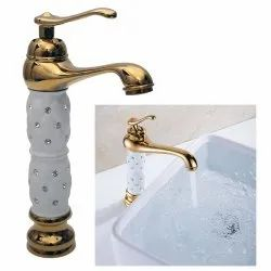 Single Lever Basin Brass Faucet  Mb470 With Two Braided Connecting Pipes 450 Mm Table Deck Mount