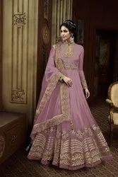 Ethnic Semi Stitch Bridal Net Embroidered Work Evening Party Wear Anarkali Gown