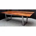 Acacia Wood Iron Base Dining Table