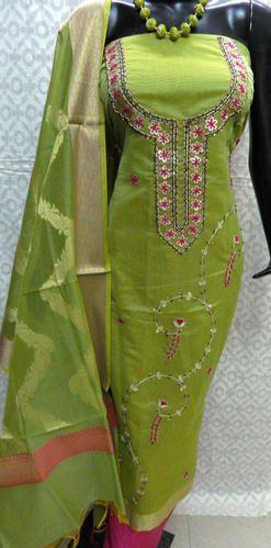 6e81121669 Yellow Gota Patti Unstitched Banarasi Suit, Rs 1350 /piece | ID ...