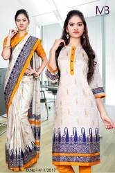 Cream, Orange and Blue Mulberry Silk Uniform Saree Kurti Combo