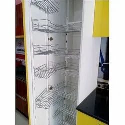Stainless Steel, Wooden Pull Out Kitchen Pantry, Size/Dimension: 7 X 1.5 Feet
