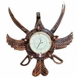 Brown Analog Decorative Wooden Wall Clock