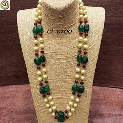 Craftlife Shell Pearl Semi Precious Tumble Stone Multilayer Handmade Fashion Jewellery Necklace Set