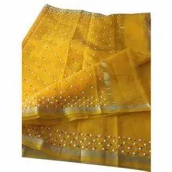 Casual Wear Kota Doria Cotton Pearl Stone Saree, Length: 5.5 m (separate blouse piece)