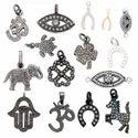 Pave Diamond Hamsa Oxidized Sterling Silver Charm Pendant