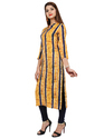 Women's Rayon Printed Yellow Kurta