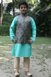 Dressy Greenish Kurta With Matching Jacket Set